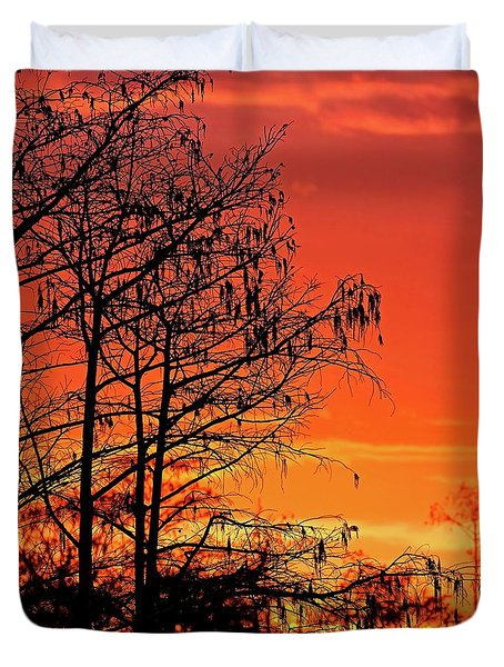 Cypress Swamp Sunset Duvet Cover