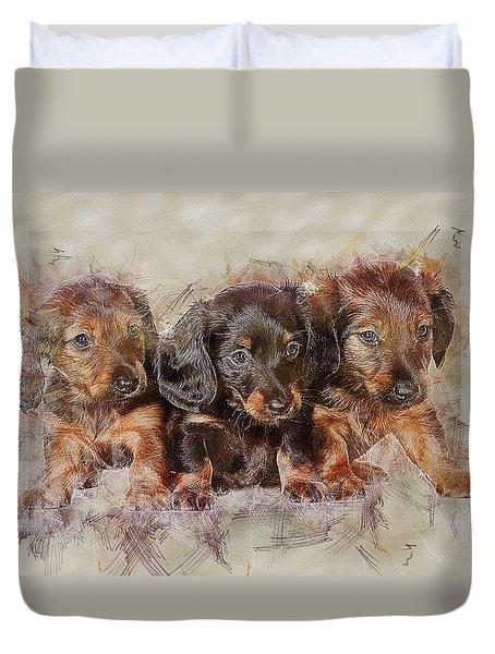Dachshund Three Puppies Duvet Cover