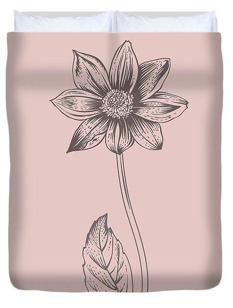 Dahlia Blush Pink Flower Duvet Cover