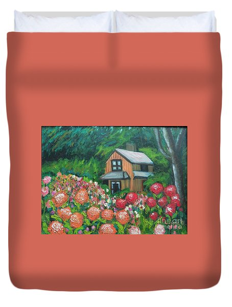 Dahlias In The Woods Duvet Cover