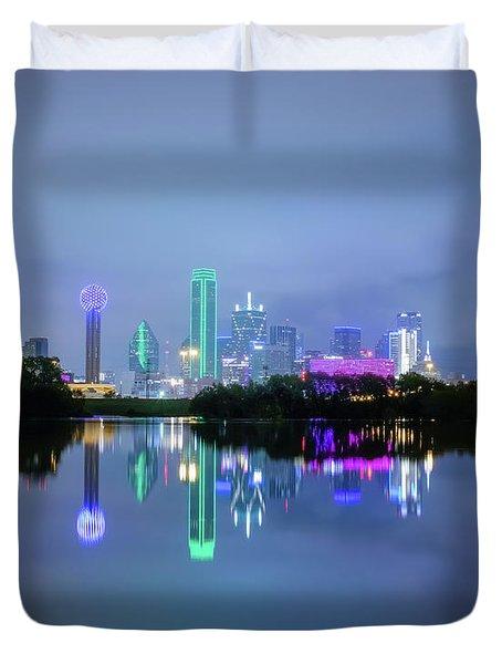 Dallas Cityscape Reflection Duvet Cover