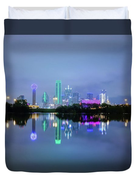 Dallas Cityscape Reflection Duvet Cover