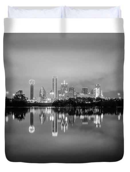 Dallas Cityscape Reflections Black And White Duvet Cover