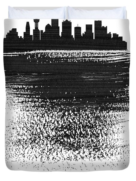 Dallas Skyline Brush Stroke Black Duvet Cover