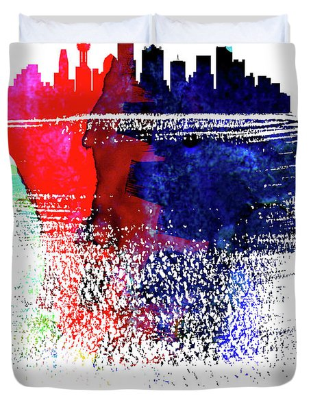 Dallas Skyline Brush Stroke Watercolor   Duvet Cover
