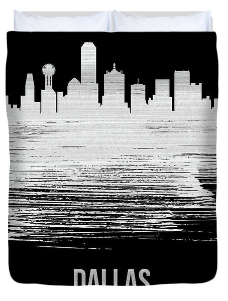 Dallas Skyline Brush Stroke White Duvet Cover