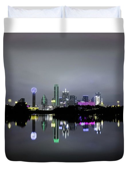 Dallas Texas Cityscape River Reflection Duvet Cover