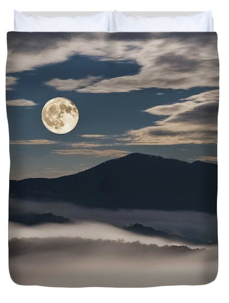 Dance Of Clouds And Moon Duvet Cover