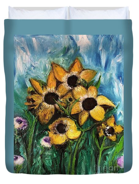Duvet Cover featuring the painting Dancing Flowers by Laurie Lundquist