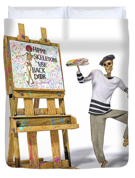 Dancing Skeleton Painter Duvet Cover