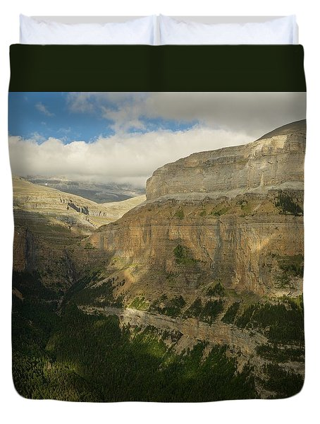 Duvet Cover featuring the photograph Dappled Light In The Ordesa Valley by Stephen Taylor