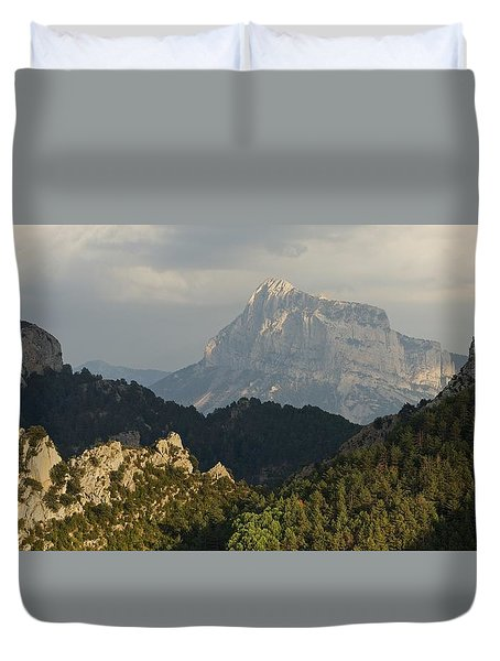 Duvet Cover featuring the photograph Dappled Light On Pena Montanesa by Stephen Taylor