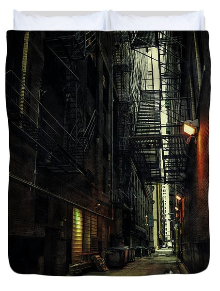 Dark Chicago Alley Duvet Cover