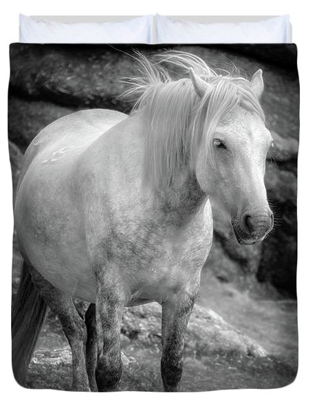 Dartmoor Pony, Black And White Duvet Cover
