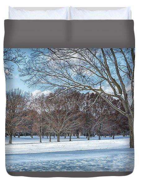 Duvet Cover featuring the photograph Dashing Through The Snow by Kim Hojnacki