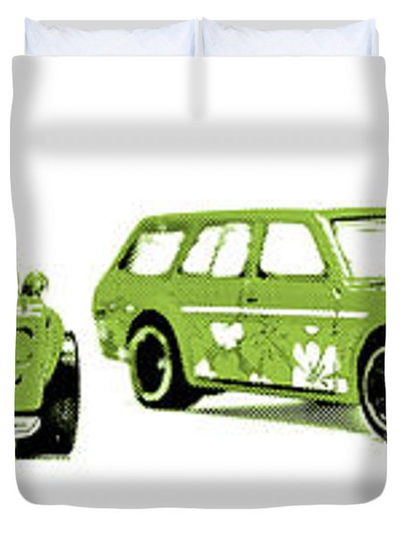 Datsun 510 Comic Strip Duvet Cover