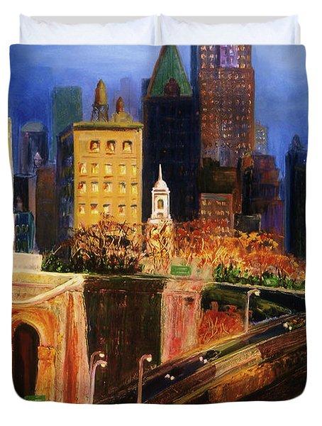Dawn At City Hall Duvet Cover