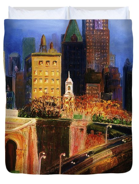 Duvet Cover featuring the painting Dawn At City Hall by Donna Hall