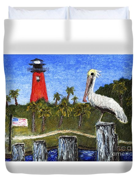 Aceo Dawn At Jupiter Inlet Lighthouse Florida 52a Duvet Cover