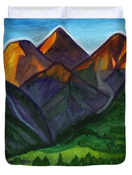 Sunrise In The Mountains Duvet Cover