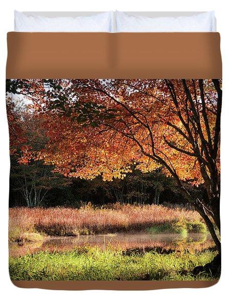 Dawn Lighting Rhode Island Fall Colors Duvet Cover