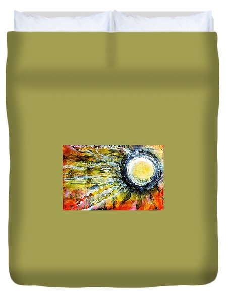Duvet Cover featuring the painting Dawn Of A New Sun by 'REA' Gallery