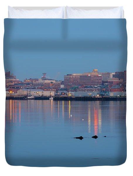Duvet Cover featuring the photograph Dawn - Portland, Maine  by Erin Paul Donovan