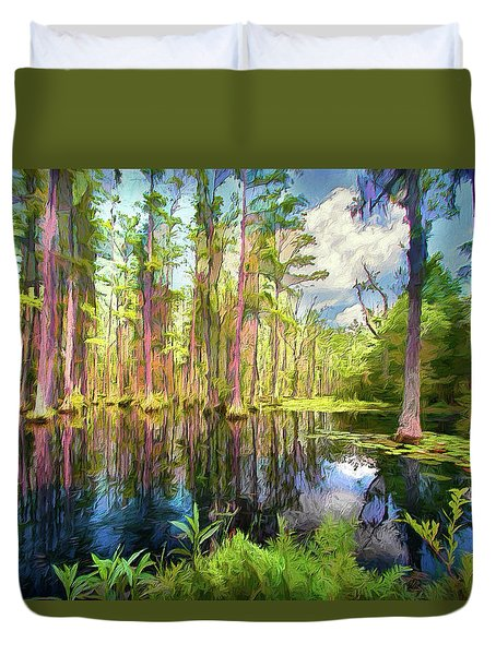 Dazzling Cypress Reflections Ap Duvet Cover
