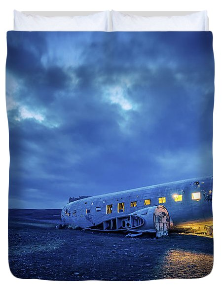 Dc-3 Plane Wreck Illuminated Night Iceland Duvet Cover