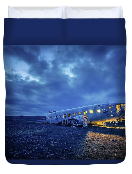 Duvet Cover featuring the photograph Dc-3 Plane Wreck Illuminated Night Iceland by Nathan Bush