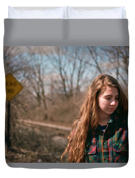 Duvet Cover featuring the photograph Dead End by Carl Young