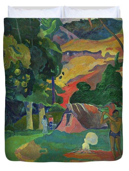 Death, Landscape With Peacocks, 1892 Duvet Cover