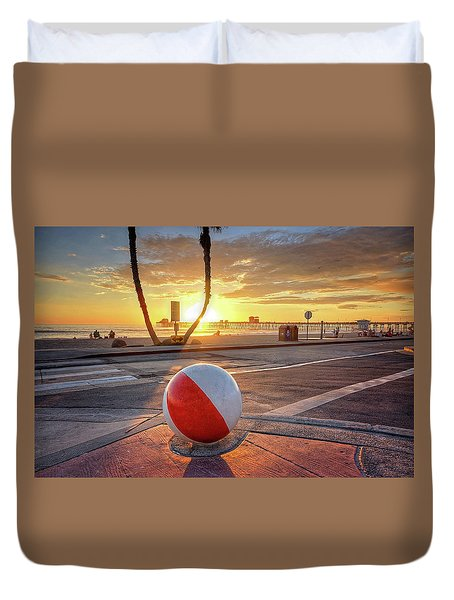 Decorative Beach Ball At Oceanside Pier Duvet Cover