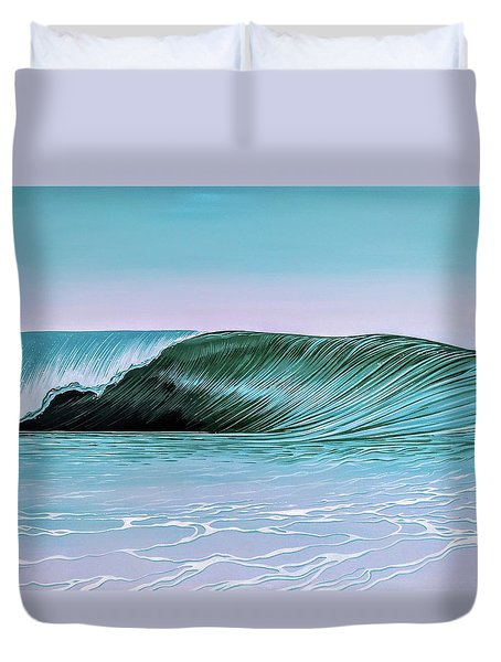 Duvet Cover featuring the painting Deep Blue Barrel by William Love
