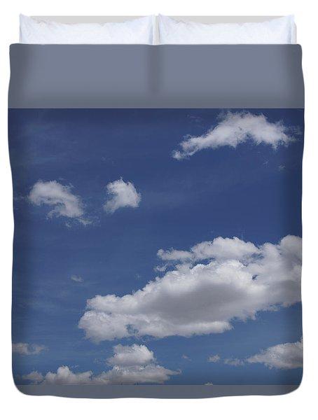 Deep Blue Sky And Fluffy Cumulous Cloud Duvet Cover
