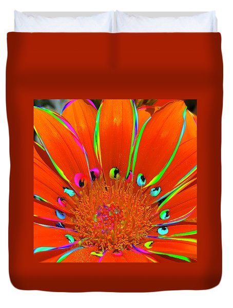 Deep Coral Bloom  Duvet Cover