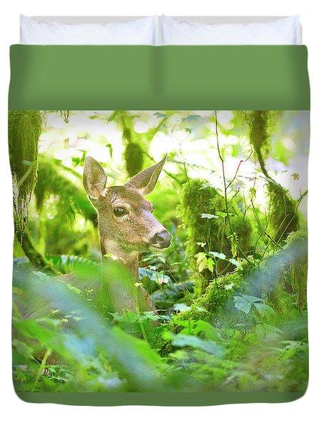 Deer In Rainforest 4 Duvet Cover