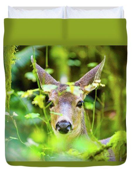 Deer In Rainforest Duvet Cover