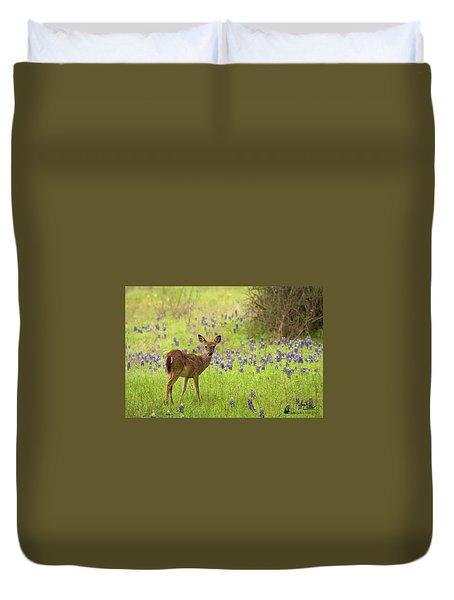 Deer In The Bluebonnets Duvet Cover