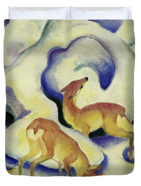 Deer In The Snow, 1911 Duvet Cover