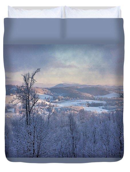 Deer Valley Winter View Duvet Cover