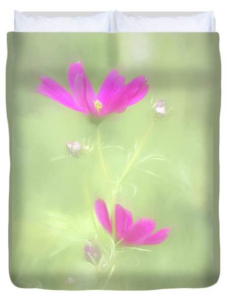 Delicate Painted Cosmos Duvet Cover