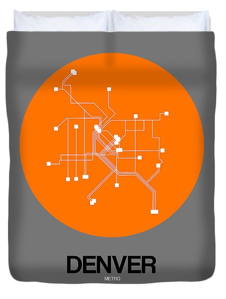 Denver Orange Subway Map Duvet Cover