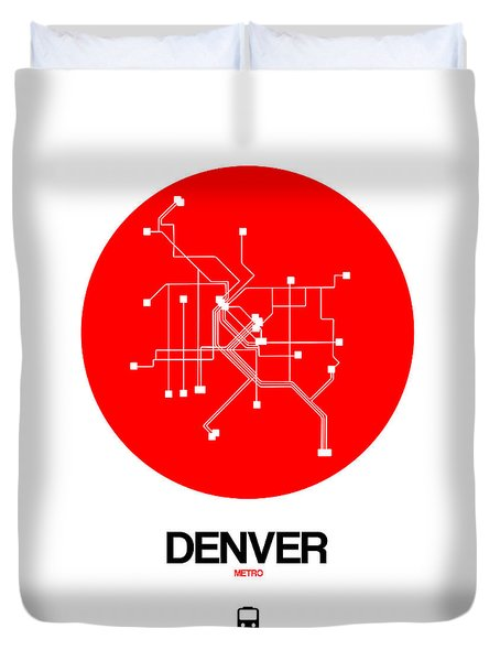 Denver Red Subway Map Duvet Cover
