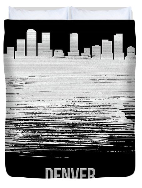 Denver Skyline Brush Stroke White Duvet Cover