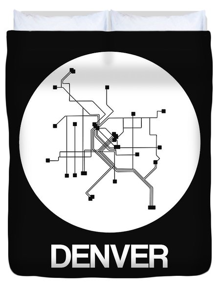 Denver White Subway Map Duvet Cover