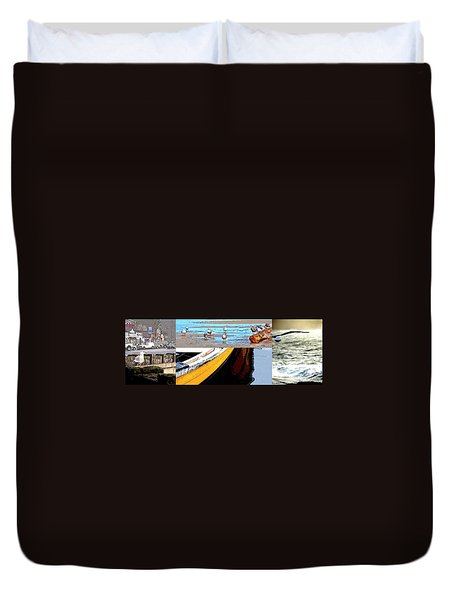 Duvet Cover featuring the photograph Depoe Bay Collage by Jerry Sodorff