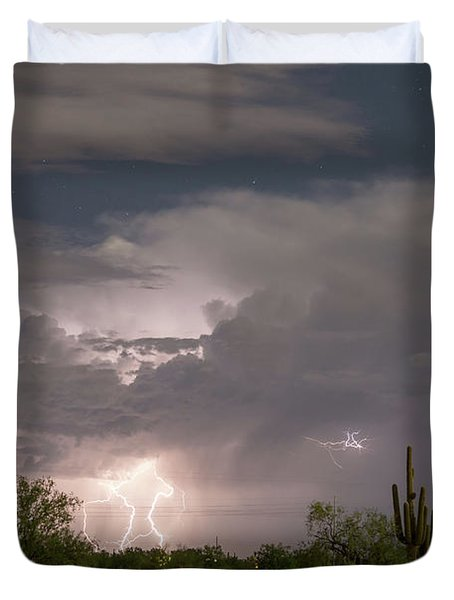 Desert Clouds Lightning And Stars Duvet Cover