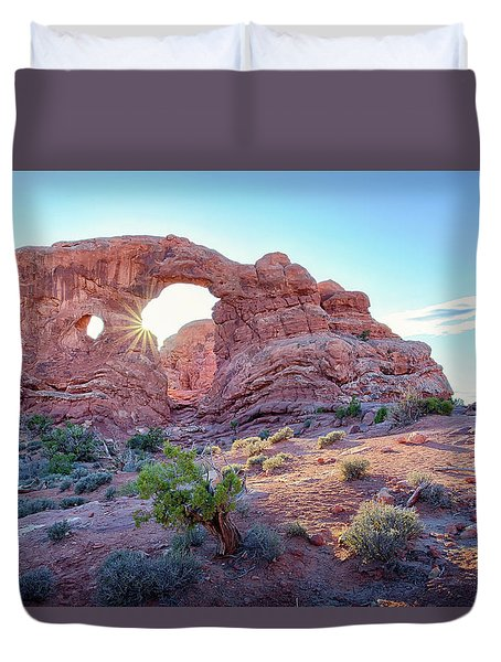 Duvet Cover featuring the photograph Desert Sunset Arches National Park by Nathan Bush