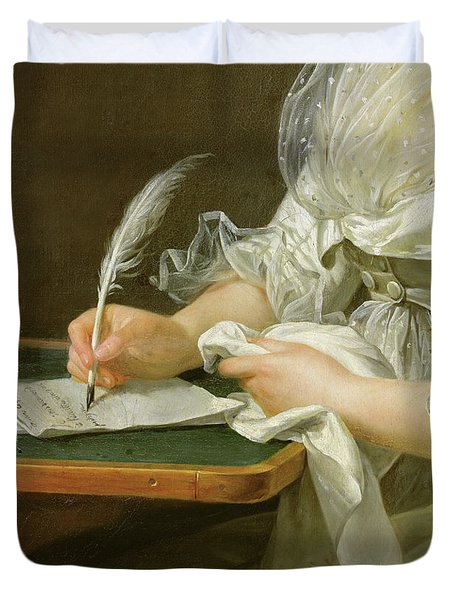 Detail Of A Woman Writing With A Quill Duvet Cover